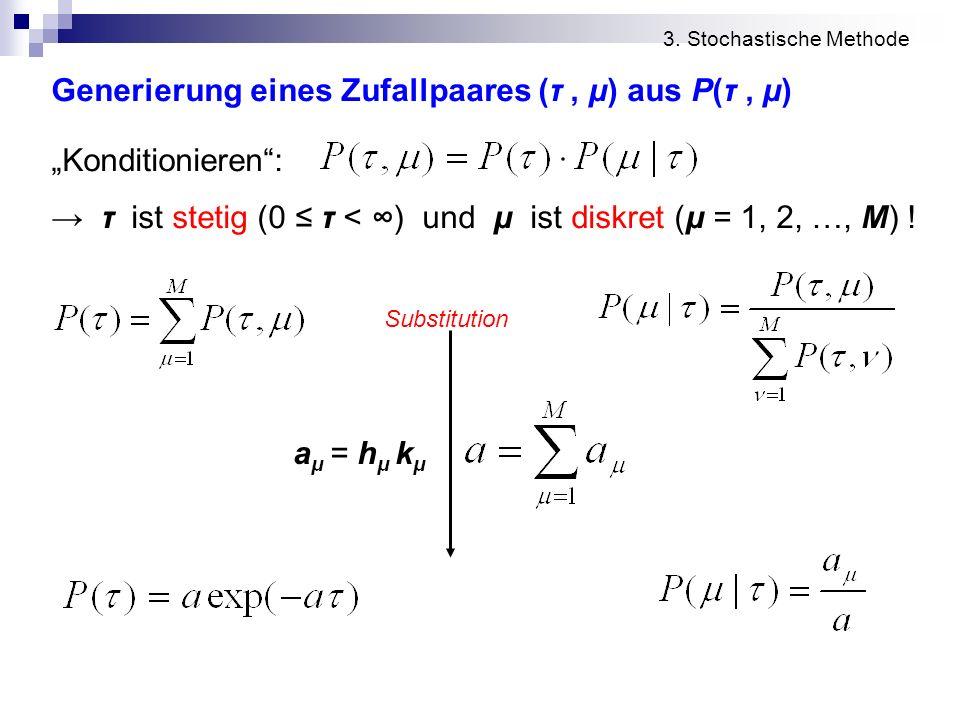 3. Stochastische Methode Generierung eines Zufallpaares (τ, μ) aus P(τ, μ) Konditionieren: τ ist stetig (0 τ < ) und μ ist diskret (μ = 1, 2, …, M) !