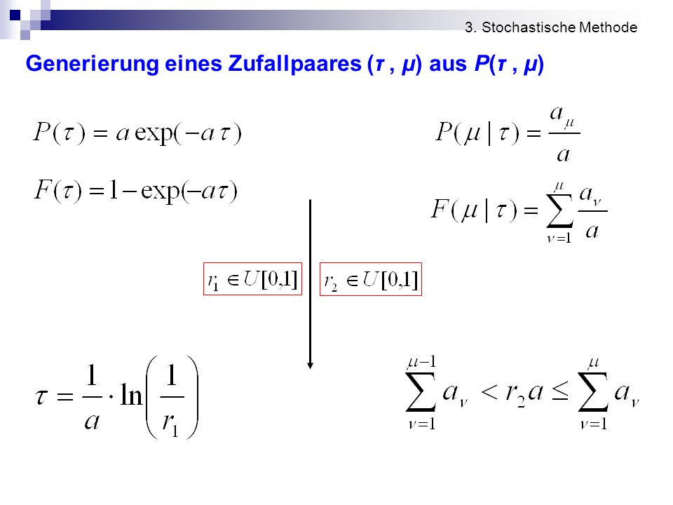 Generierung eines Zufallpaares (τ, μ) aus P(τ, μ) 3. Stochastische Methode