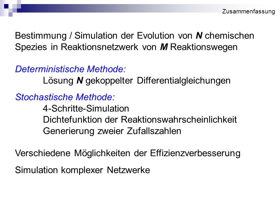 Bestimmung / Simulation der Evolution von N chemischen Spezies in Reaktionsnetzwerk von M Reaktionswegen Deterministische Methode: Lösung N gekoppelte