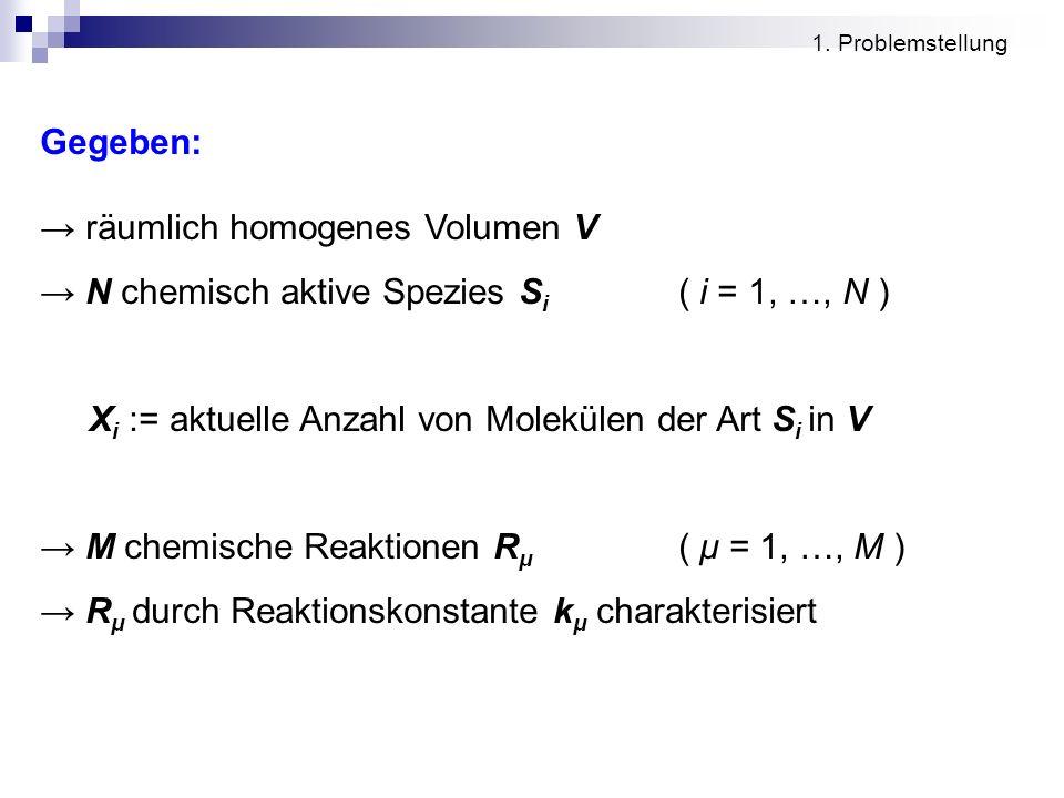 Gegeben: räumlich homogenes Volumen V N chemisch aktive Spezies S i ( i = 1, …, N ) X i := aktuelle Anzahl von Molekülen der Art S i in V M chemische