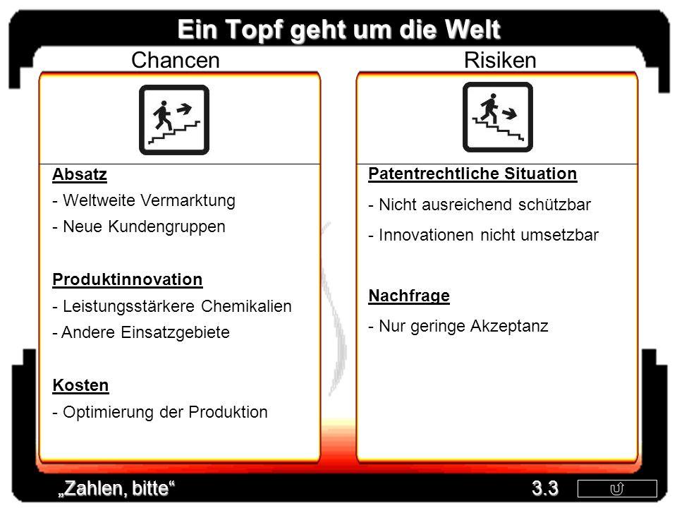 Ein Topf geht um die Welt Chancen Absatz - Weltweite Vermarktung - Neue Kundengruppen Produktinnovation - Leistungsstärkere Chemikalien - Andere Einsa
