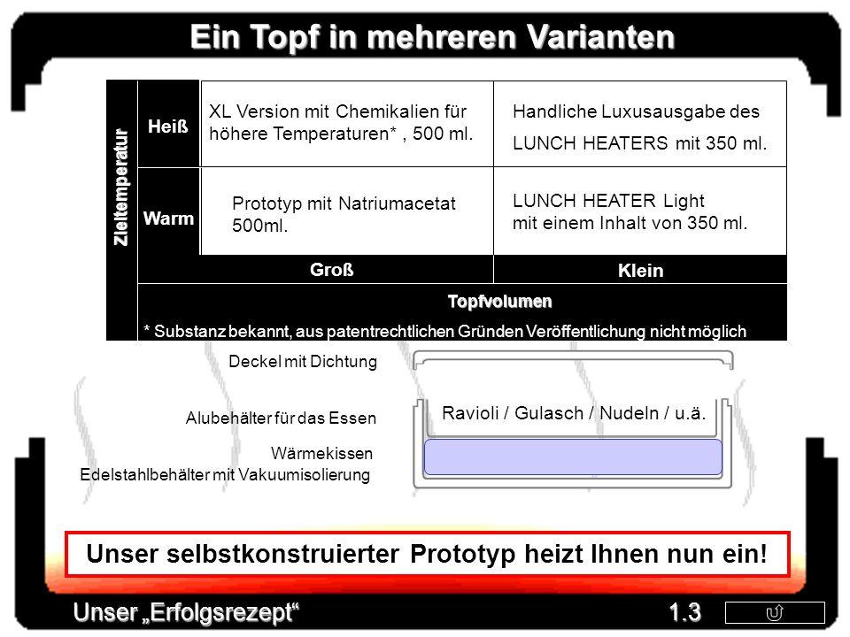 Groß Klein Heiß Warm Prototyp mit Natriumacetat 500ml. XL Version mit Chemikalien für höhere Temperaturen*, 500 ml. LUNCH HEATER Light mit einem Inhal