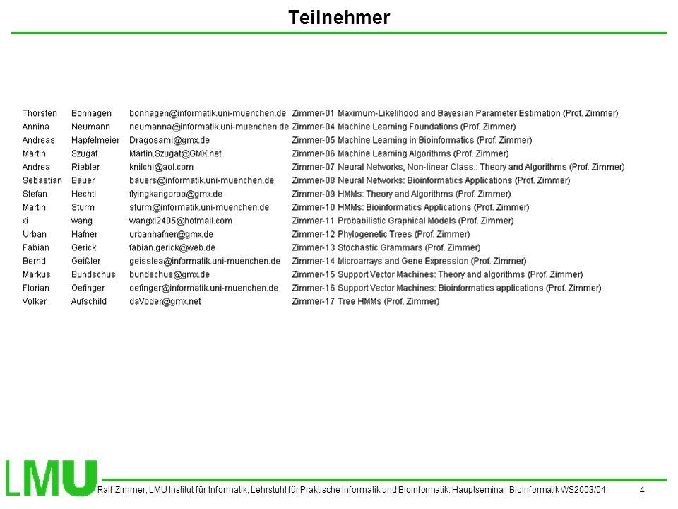 Ralf Zimmer, LMU Institut für Informatik, Lehrstuhl für Praktische Informatik und Bioinformatik: Hauptseminar Bioinformatik WS2003/04 5 Vortragsthemen und Termine 07.04.2003Machine Learning Foundations 14.04.2003Machine Learning in Bioinformatics 21.04.2004 Ostern 28.04.2003Machine Learning Algorithms 05.05.2003Neural Networks, Non-linear Class.: Theory and Algorithms 12.05.2003Neural Networks: Bioinformatics Applications 19.05.2003HMMs: Theory and Algorithms 26.05.2003HMMs: Bioinformatics Applications 02.06.2003Probabilistic Graphical Models 09.06.2003 Pfingsten 16.06.2003Phylogenetic Trees 23.06.2003Stochastic Grammars 30.06.2003Microarrays and Gene Expression 07.07.2003Support Vector Machines: Theory and Algorithms Support Vector Machines: Bioinformatics Applications Es sind folgende Themen zu folgenden Sitzungen vorgesehen.