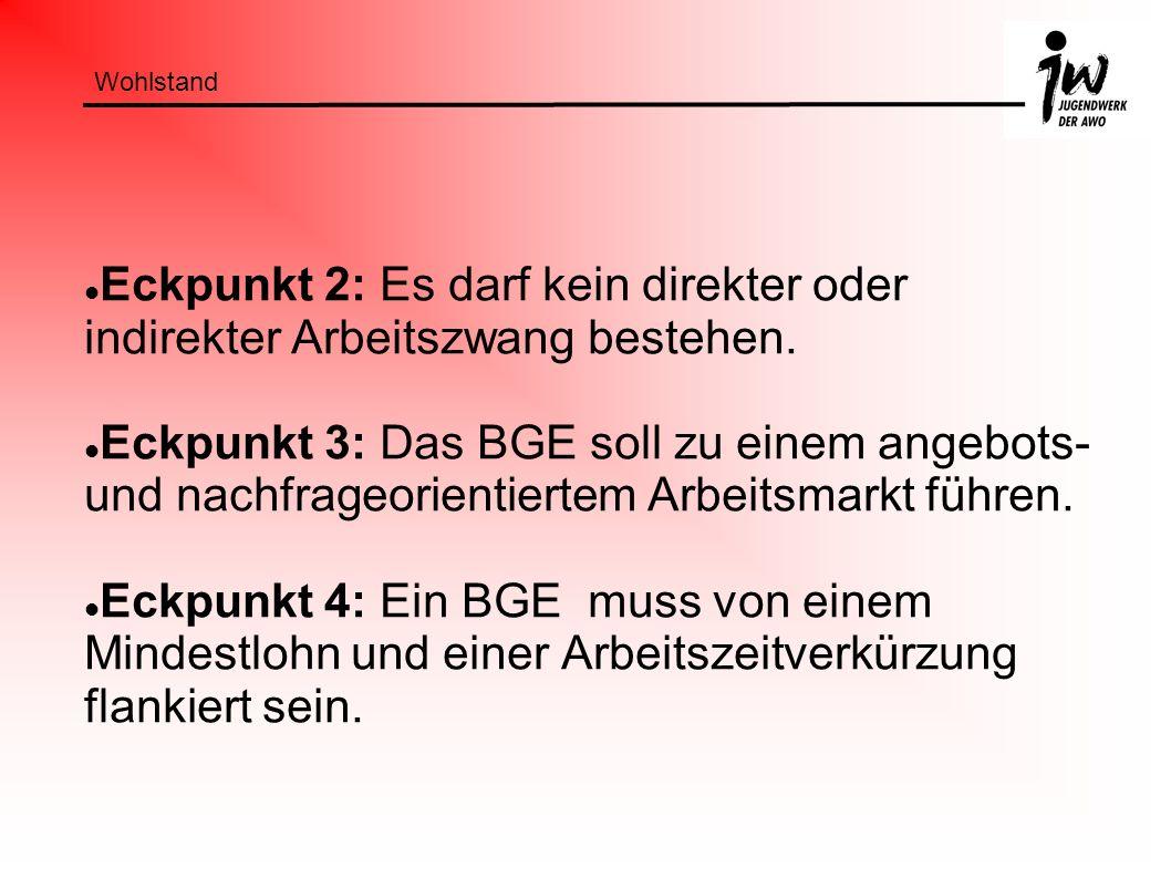 Wohlstand Eckpunkt 2: Es darf kein direkter oder indirekter Arbeitszwang bestehen. Eckpunkt 3: Das BGE soll zu einem angebots- und nachfrageorientiert