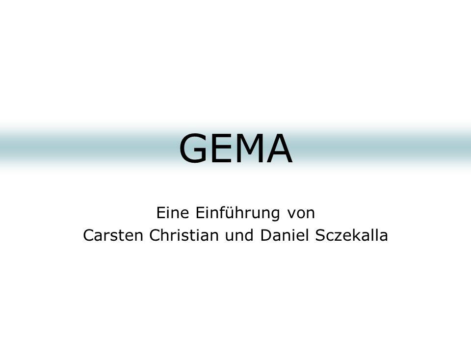 Quellen GEMA – leicht gemacht (Manfred Hilberger, Voggenreiter 2001) Urheberrecht und GEMA (Gerd Spieckermann, Verlag Sozialkultur 2001) Die Praxis im Musikbusiness (Robert Lyng, Soundcheck 1995) www.gema.de