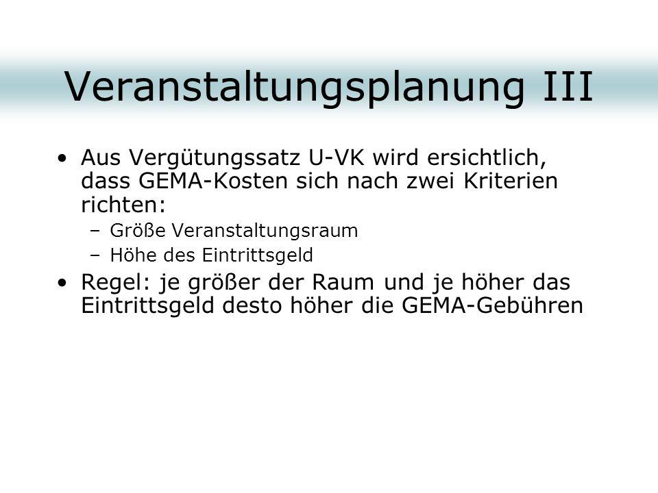 Veranstaltungsplanung III Aus Vergütungssatz U-VK wird ersichtlich, dass GEMA-Kosten sich nach zwei Kriterien richten: –Größe Veranstaltungsraum –Höhe