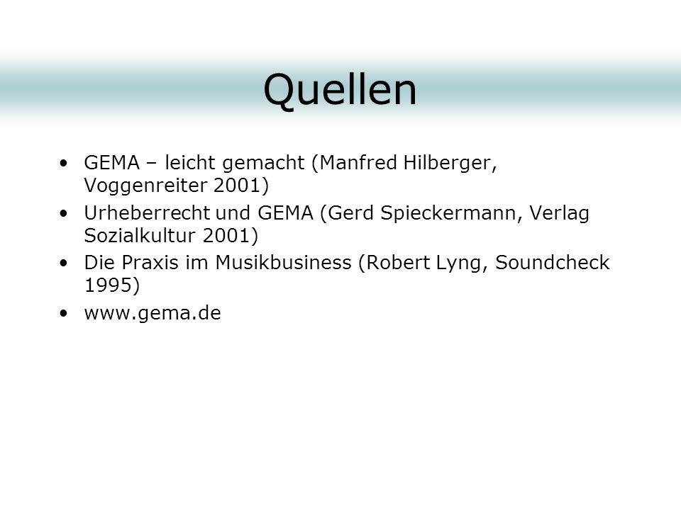 Quellen GEMA – leicht gemacht (Manfred Hilberger, Voggenreiter 2001) Urheberrecht und GEMA (Gerd Spieckermann, Verlag Sozialkultur 2001) Die Praxis im