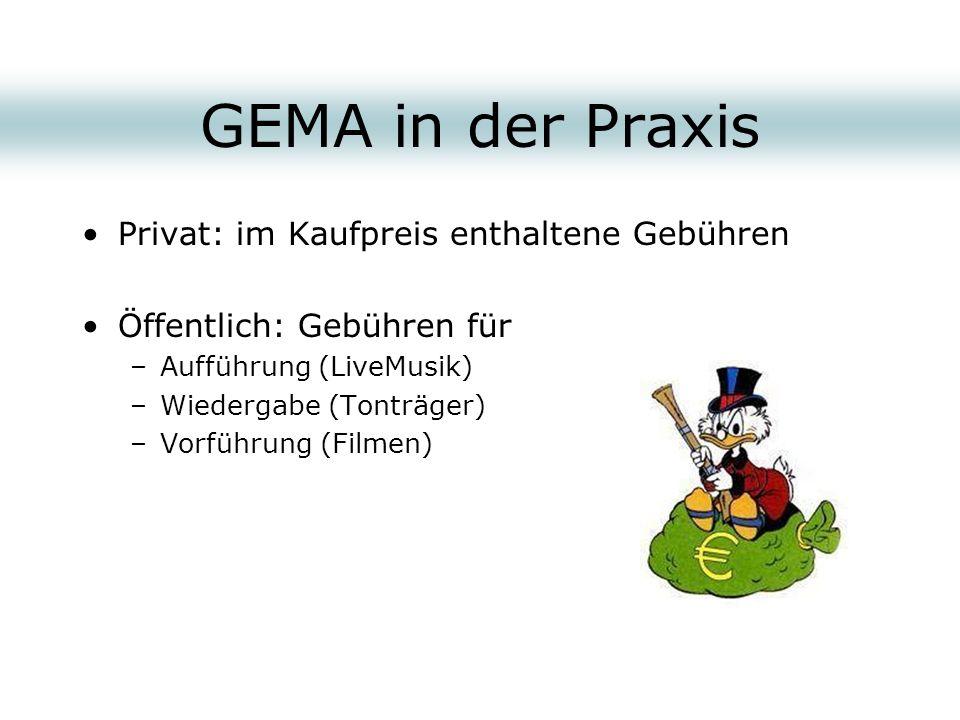 GEMA in der Praxis Privat: im Kaufpreis enthaltene Gebühren Öffentlich: Gebühren für –Aufführung (LiveMusik) –Wiedergabe (Tonträger) –Vorführung (Film