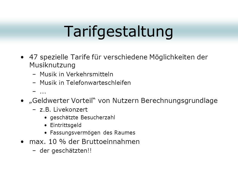 Tarifgestaltung 47 spezielle Tarife für verschiedene Möglichkeiten der Musiknutzung –Musik in Verkehrsmitteln –Musik in Telefonwarteschleifen –... Gel