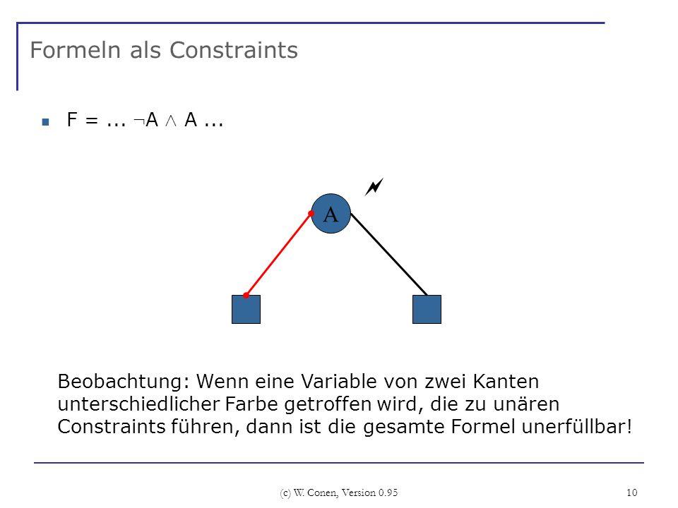 (c) W. Conen, Version 0.95 10 Formeln als Constraints F =... : A Æ A... A Beobachtung: Wenn eine Variable von zwei Kanten unterschiedlicher Farbe getr