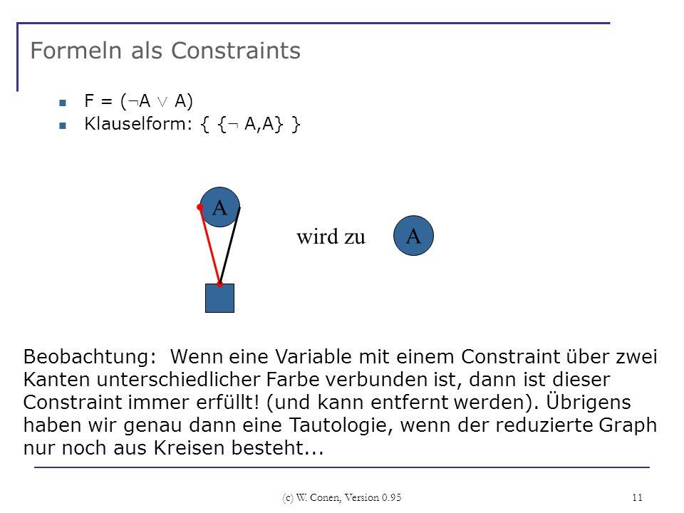(c) W. Conen, Version 0.95 11 Formeln als Constraints F = ( : A Ç A) Klauselform: { { : A,A} } A Beobachtung: Wenn eine Variable mit einem Constraint
