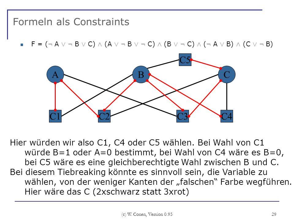 (c) W. Conen, Version 0.95 29 Formeln als Constraints F = ( : A Ç : B Ç C) Æ (A Ç : B Ç : C) Æ (B Ç : C) Æ ( : A Ç B) Æ (C Ç : B) A C2 BC C3 C5 C4C1 H