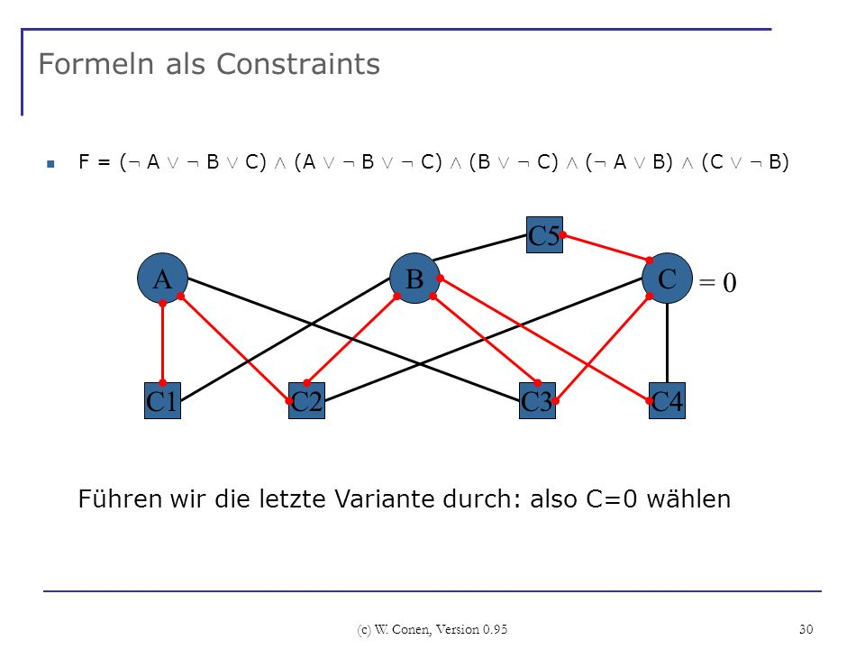 (c) W. Conen, Version 0.95 30 Formeln als Constraints F = ( : A Ç : B Ç C) Æ (A Ç : B Ç : C) Æ (B Ç : C) Æ ( : A Ç B) Æ (C Ç : B) A C2 BC C3 C5 C4C1 F