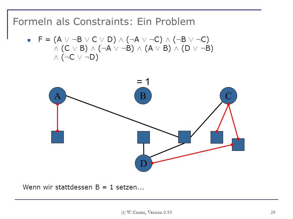 (c) W. Conen, Version 0.95 39 Formeln als Constraints: Ein Problem ABC Wenn wir stattdessen B = 1 setzen... D = 1 F = (A Ç : B Ç C Ç D) Æ ( : A Ç : C)