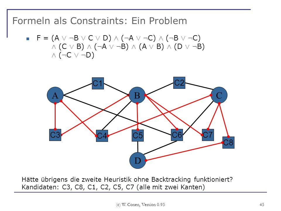 (c) W. Conen, Version 0.95 45 Formeln als Constraints: Ein Problem A C4 BC C6 C2 C3 Hätte übrigens die zweite Heuristik ohne Backtracking funktioniert