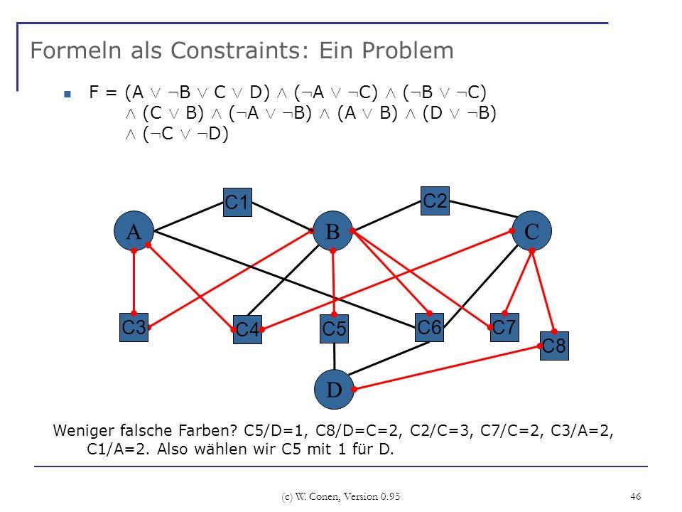 (c) W. Conen, Version 0.95 46 Formeln als Constraints: Ein Problem A C4 BC C6 C2 C3 Weniger falsche Farben? C5/D=1, C8/D=C=2, C2/C=3, C7/C=2, C3/A=2,
