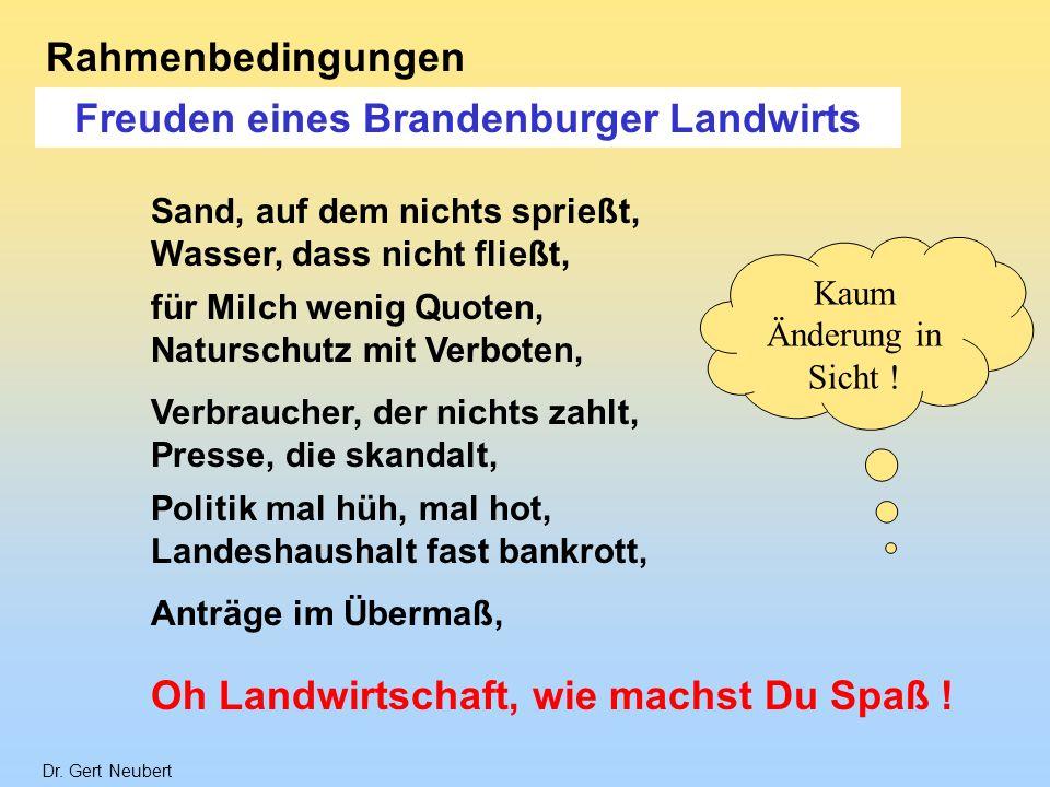 Dr. Gert Neubert Rahmenbedingungen Freuden eines Brandenburger Landwirts Oh Landwirtschaft, wie machst Du Spaß ! Sand, auf dem nichts sprießt, Wasser,