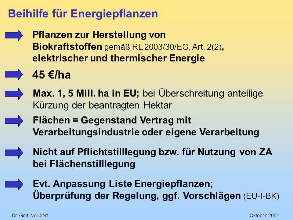 Dr. Gert NeubertOktober 2004 Beihilfe für Energiepflanzen Pflanzen zur Herstellung von Biokraftstoffen gemäß RL 2003/30/EG, Art. 2(2), elektrischer un