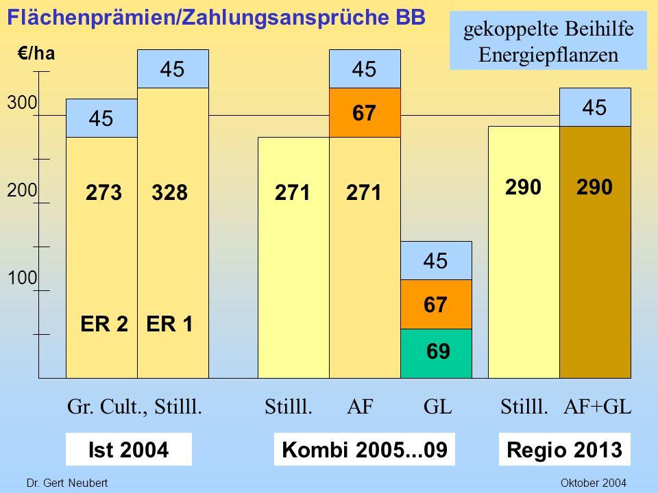 Dr. Gert NeubertOktober 2004 /ha 300 200 100 67 328273 ER 2ER 1 Gr. Cult., Stilll. Ist 2004 271 69 271 Stilll.AFGL Kombi 2005...09 Flächenprämien/Zahl