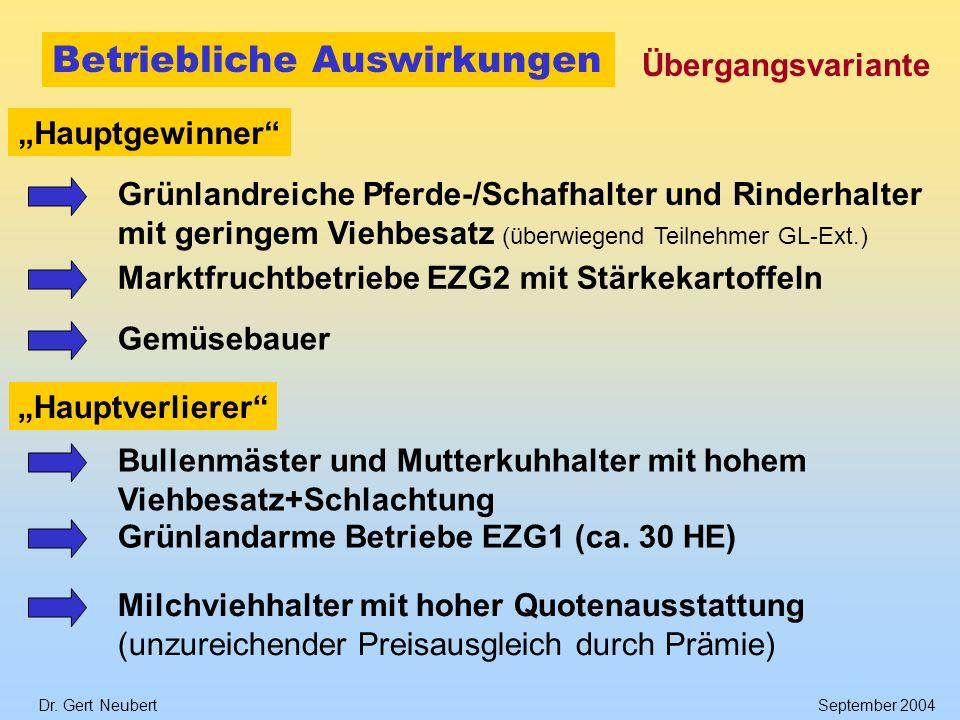 Dr. Gert NeubertSeptember 2004 Betriebliche Auswirkungen Übergangsvariante Hauptgewinner Grünlandreiche Pferde-/Schafhalter und Rinderhalter mit gerin