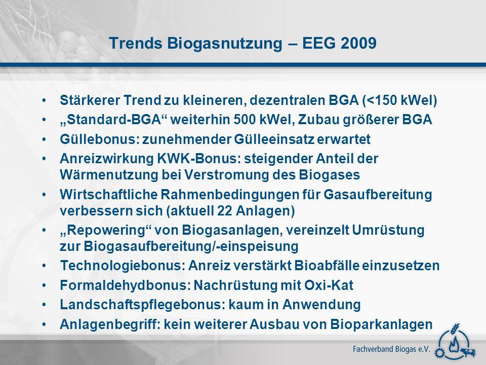 Trends Biogasnutzung – EEG 2009 Stärkerer Trend zu kleineren, dezentralen BGA (<150 kWel) Standard-BGA weiterhin 500 kWel, Zubau größerer BGA Güllebon