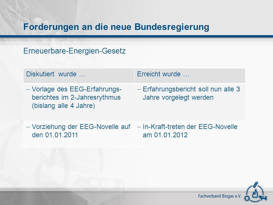 Diskutiert wurde …Erreicht wurde … Vorlage des EEG-Erfahrungs- berichtes im 2-Jahresrythmus (bislang alle 4 Jahre) Erfahrungsbericht soll nun alle 3 J