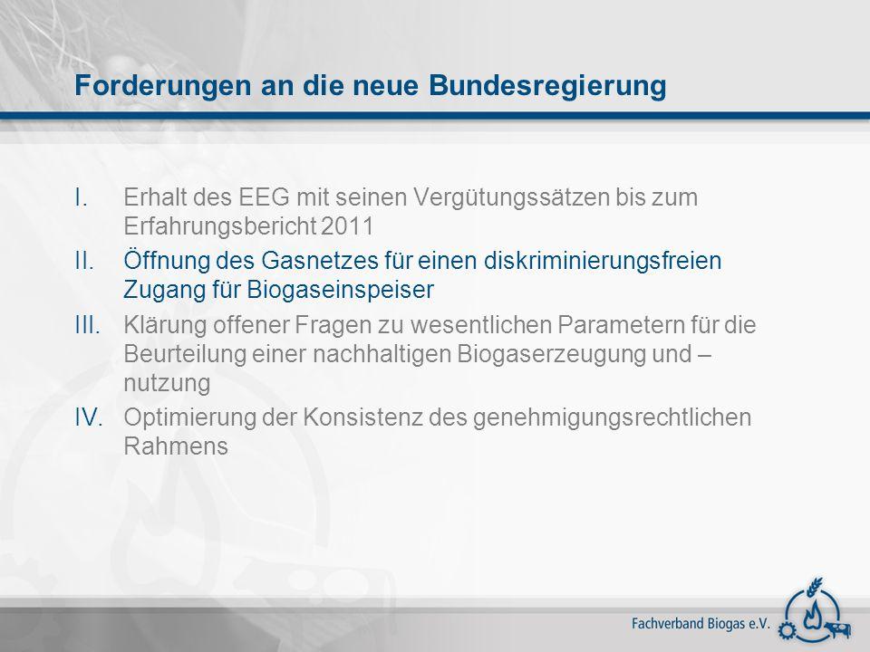 I.Erhalt des EEG mit seinen Vergütungssätzen bis zum Erfahrungsbericht 2011 II.Öffnung des Gasnetzes für einen diskriminierungsfreien Zugang für Bioga