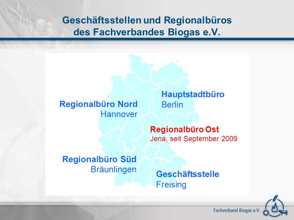 Trends Biogasnutzung – EEG 2009 Stärkerer Trend zu kleineren, dezentralen BGA (<150 kWel) Standard-BGA weiterhin 500 kWel, Zubau größerer BGA Güllebonus: zunehmender Gülleeinsatz erwartet Anreizwirkung KWK-Bonus: steigender Anteil der Wärmenutzung bei Verstromung des Biogases Wirtschaftliche Rahmenbedingungen für Gasaufbereitung verbessern sich (aktuell 22 Anlagen) Repowering von Biogasanlagen, vereinzelt Umrüstung zur Biogasaufbereitung/-einspeisung Technologiebonus: Anreiz verstärkt Bioabfälle einzusetzen Formaldehydbonus: Nachrüstung mit Oxi-Kat Landschaftspflegebonus: kaum in Anwendung Anlagenbegriff: kein weiterer Ausbau von Bioparkanlagen