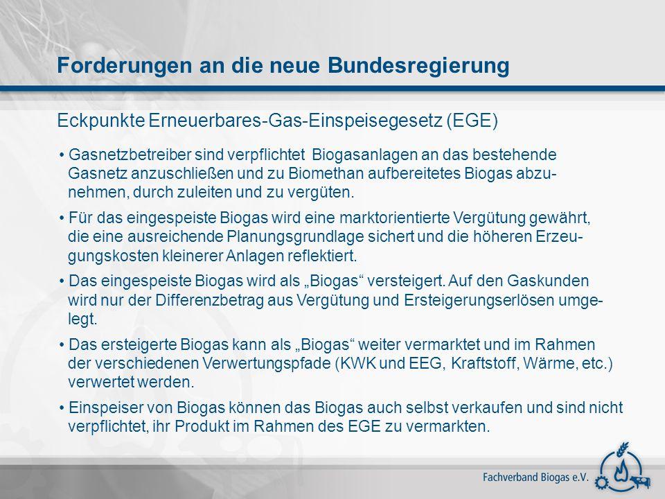 Eckpunkte Erneuerbares-Gas-Einspeisegesetz (EGE) Gasnetzbetreiber sind verpflichtet Biogasanlagen an das bestehende Gasnetz anzuschließen und zu Biome