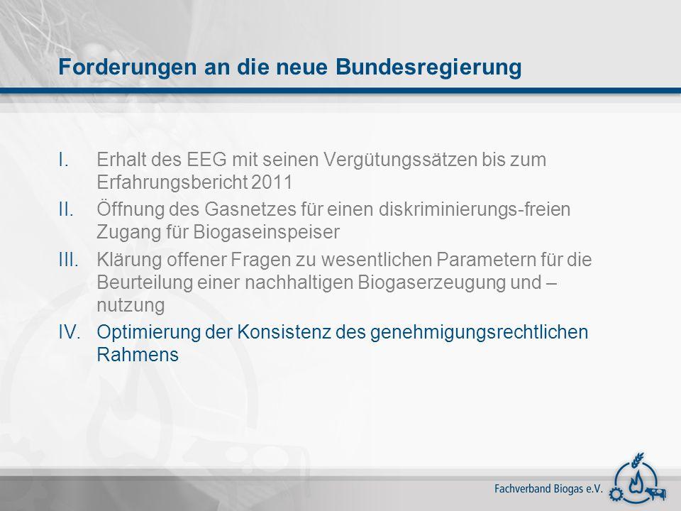 I.Erhalt des EEG mit seinen Vergütungssätzen bis zum Erfahrungsbericht 2011 II.Öffnung des Gasnetzes für einen diskriminierungs-freien Zugang für Biog