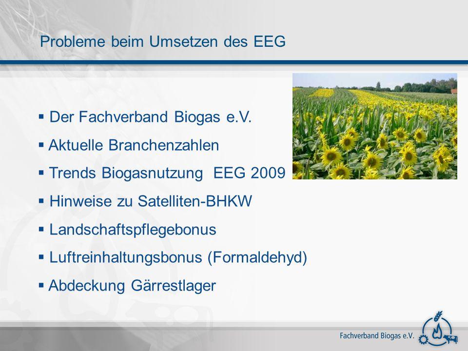 Probleme beim Umsetzen des EEG Der Fachverband Biogas e.V. Aktuelle Branchenzahlen Trends Biogasnutzung EEG 2009 Hinweise zu Satelliten-BHKW Landschaf