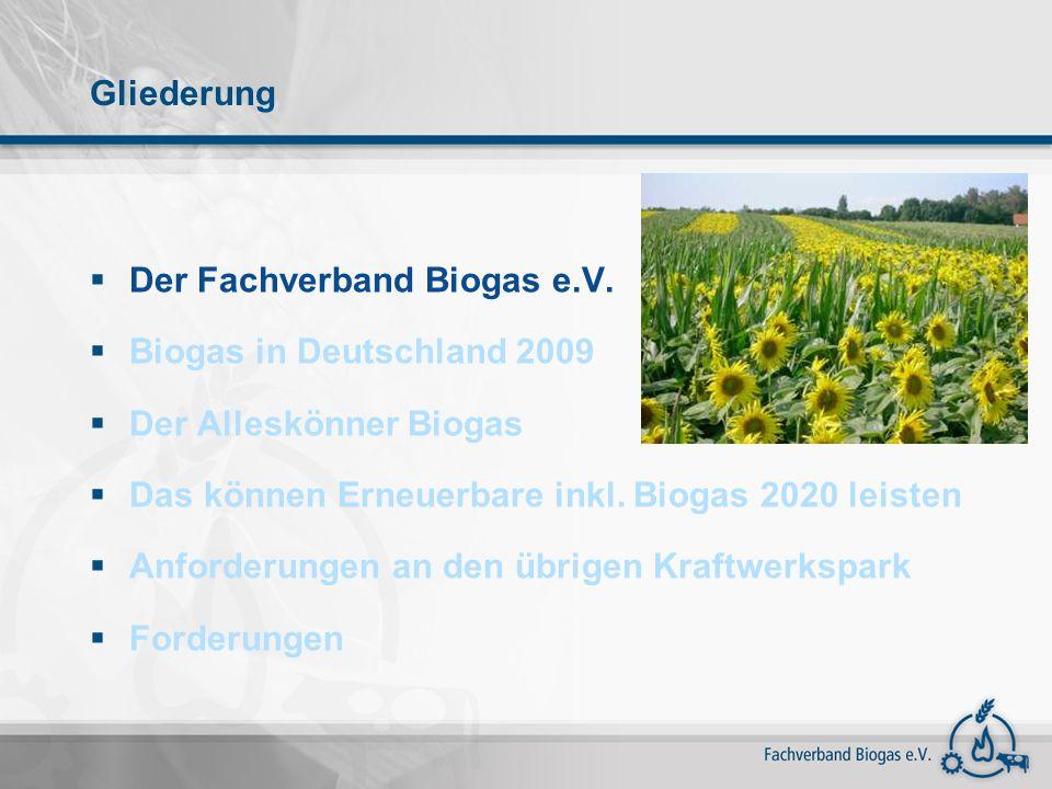 Gliederung Der Fachverband Biogas e.V. Biogas in Deutschland 2009 Der Alleskönner Biogas Das können Erneuerbare inkl. Biogas 2020 leisten Anforderunge