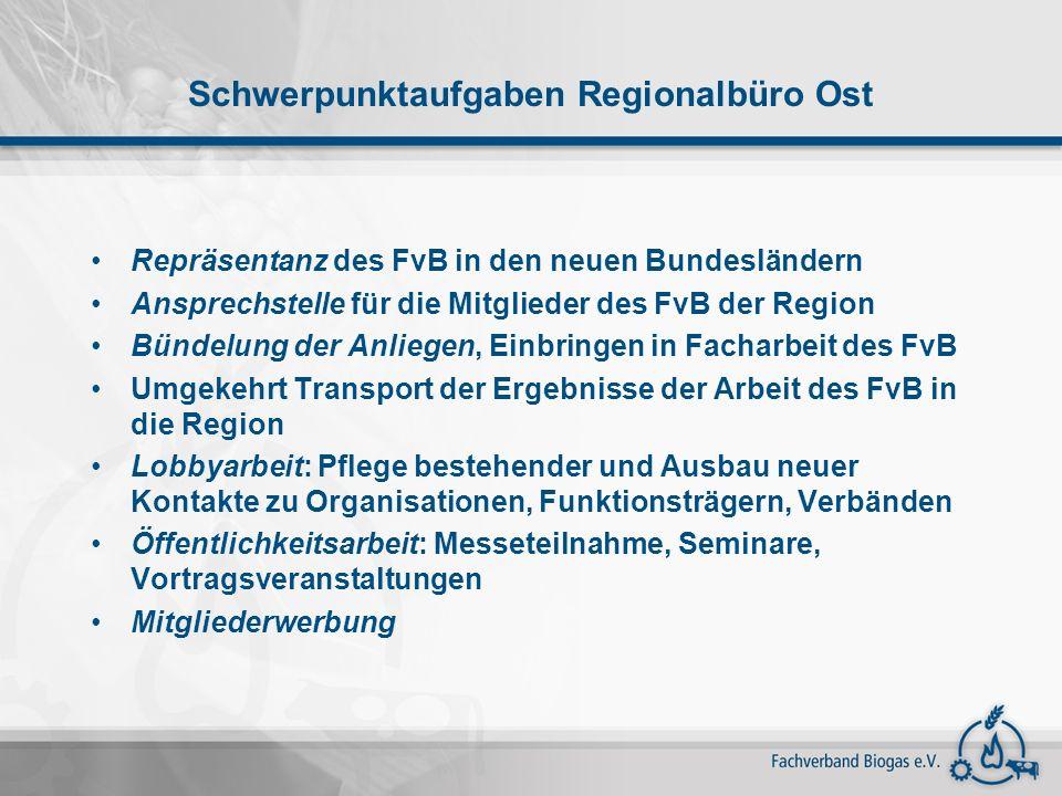 Schwerpunktaufgaben Regionalbüro Ost Repräsentanz des FvB in den neuen Bundesländern Ansprechstelle für die Mitglieder des FvB der Region Bündelung de