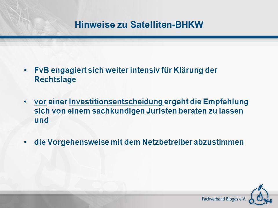 Hinweise zu Satelliten-BHKW FvB engagiert sich weiter intensiv für Klärung der Rechtslage vor einer Investitionsentscheidung ergeht die Empfehlung sic