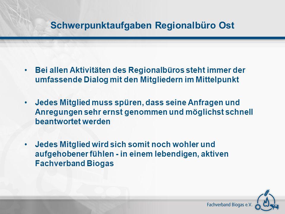 Schwerpunktaufgaben Regionalbüro Ost Bei allen Aktivitäten des Regionalbüros steht immer der umfassende Dialog mit den Mitgliedern im Mittelpunkt Jede