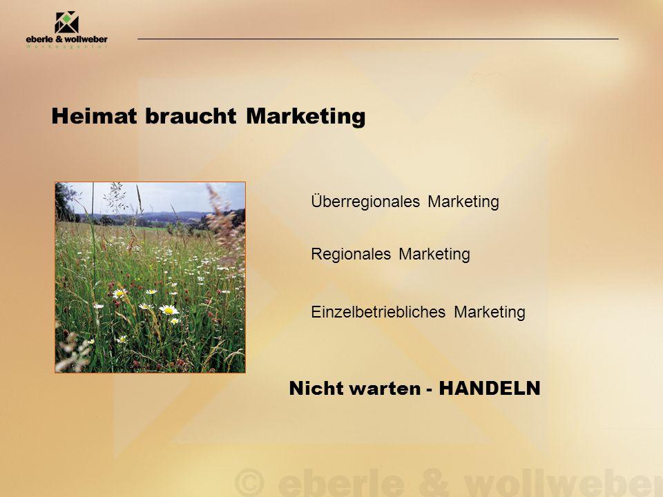 Heimat braucht Marketing Überregionales Marketing Regionales Marketing Einzelbetriebliches Marketing Nicht warten - HANDELN