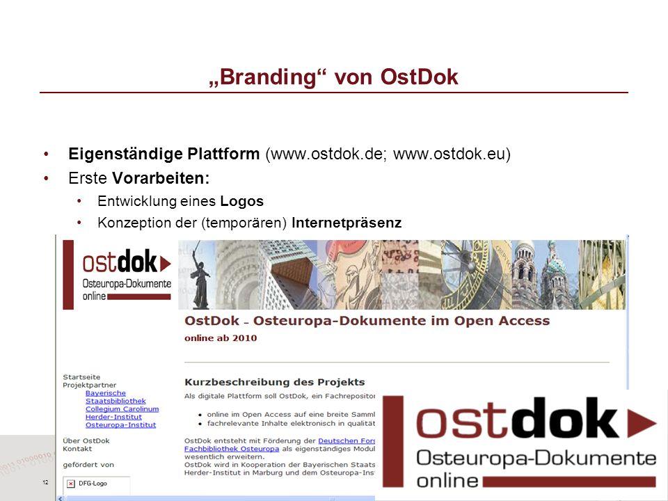 12 Branding von OstDok Eigenständige Plattform (www.ostdok.de; www.ostdok.eu) Erste Vorarbeiten: Entwicklung eines Logos Konzeption der (temporären) I