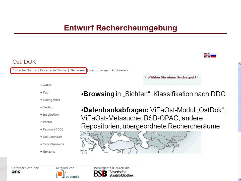 Entwurf Rechercheumgebung Browsing in Sichten: Klassifikation nach DDC Datenbankabfragen: ViFaOst-Modul OstDok, ViFaOst-Metasuche, BSB-OPAC, andere Re