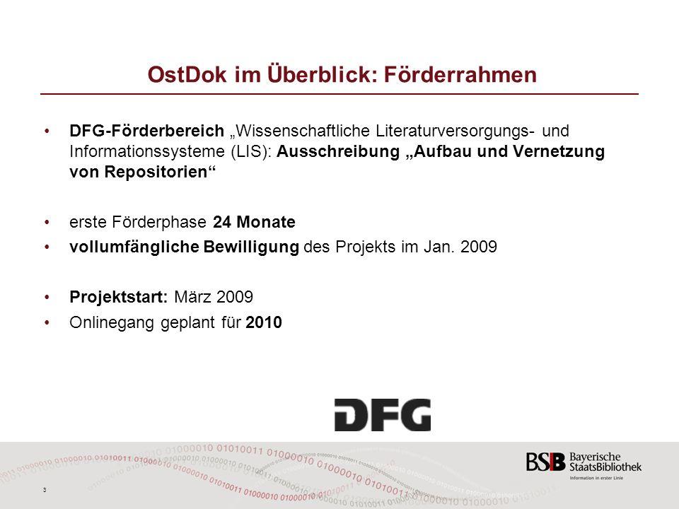 3 OstDok im Überblick: Förderrahmen DFG-Förderbereich Wissenschaftliche Literaturversorgungs- und Informationssysteme (LIS): Ausschreibung Aufbau und