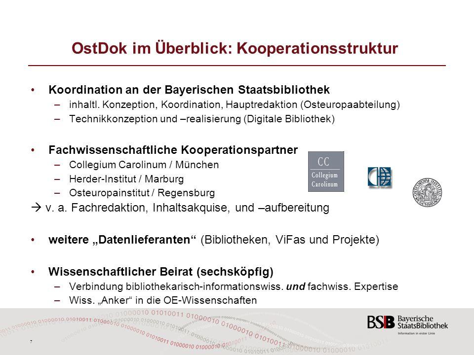 7 OstDok im Überblick: Kooperationsstruktur Koordination an der Bayerischen Staatsbibliothek –inhaltl. Konzeption, Koordination, Hauptredaktion (Osteu
