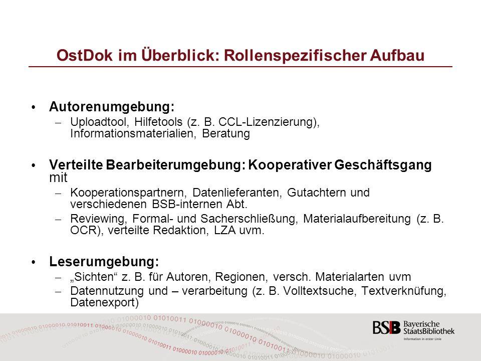 OstDok im Überblick: Rollenspezifischer Aufbau Autorenumgebung: – Uploadtool, Hilfetools (z. B. CCL-Lizenzierung), Informationsmaterialien, Beratung V