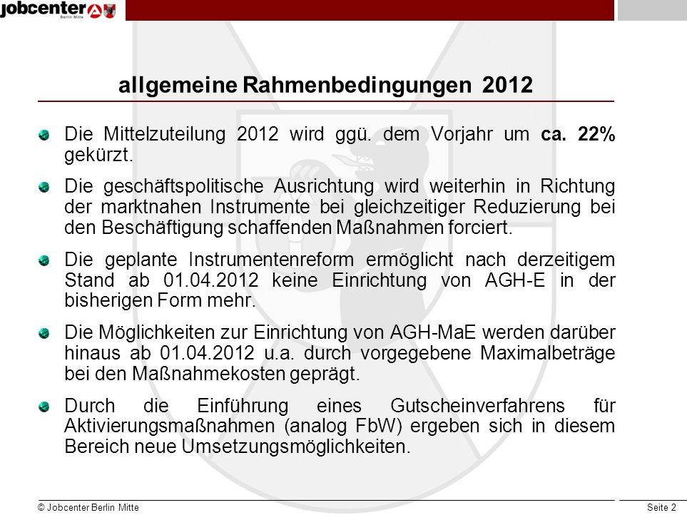 Seite 3 Rahmenbedingungen 2012 im Jobcenter Berlin Mitte Das Jobcenter Berlin Mitte plant im Jahr 2012 die Neueinrichtung von Arbeitsgelegenheiten im Umfang von insgesamt ca.