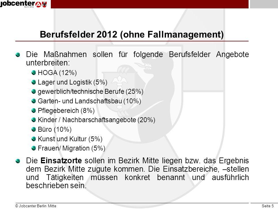 Seite 16 Arbeitsgelegenheiten mit Mehraufwandsentschädigung Fallmanagement Die Maßnahmen für das FM sollen Angebote für folgende Themen unterbreiten: Suchterkrankungen und deren Folgeproblemen (23 %) psychische Auffälligkeiten (21 %) Schwerbehinderte (3,5 %) Schulden und deren Folgeproblemen (9,5 %) Gesundheit / Tagesstruktur / Motivation (18 %) Stabilisierung / Motivation (25 %) © Jobcenter Berlin Mitte