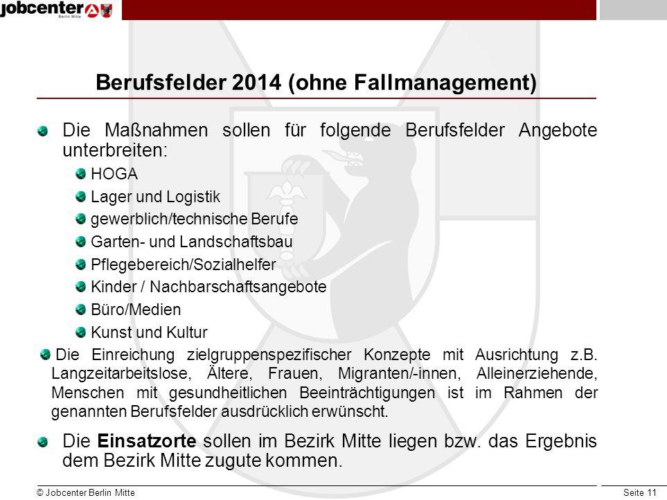 Seite 11 Berufsfelder 2014 (ohne Fallmanagement) Die Maßnahmen sollen für folgende Berufsfelder Angebote unterbreiten: HOGA Lager und Logistik gewerbl