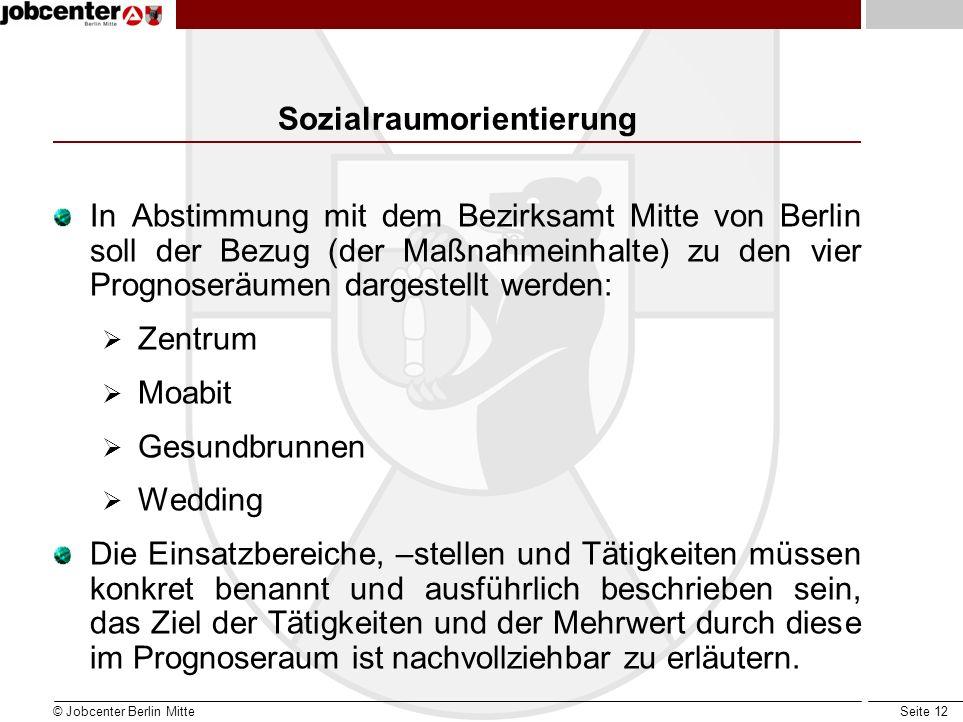 Seite 12 Sozialraumorientierung In Abstimmung mit dem Bezirksamt Mitte von Berlin soll der Bezug (der Maßnahmeinhalte) zu den vier Prognoseräumen darg