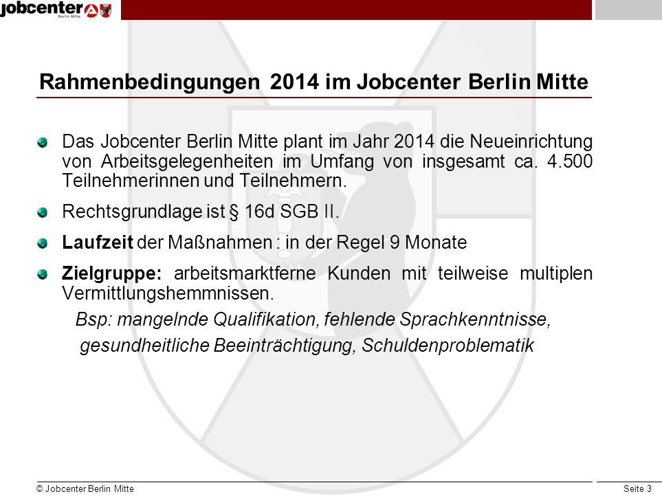 Seite 3 Rahmenbedingungen 2014 im Jobcenter Berlin Mitte Das Jobcenter Berlin Mitte plant im Jahr 2014 die Neueinrichtung von Arbeitsgelegenheiten im