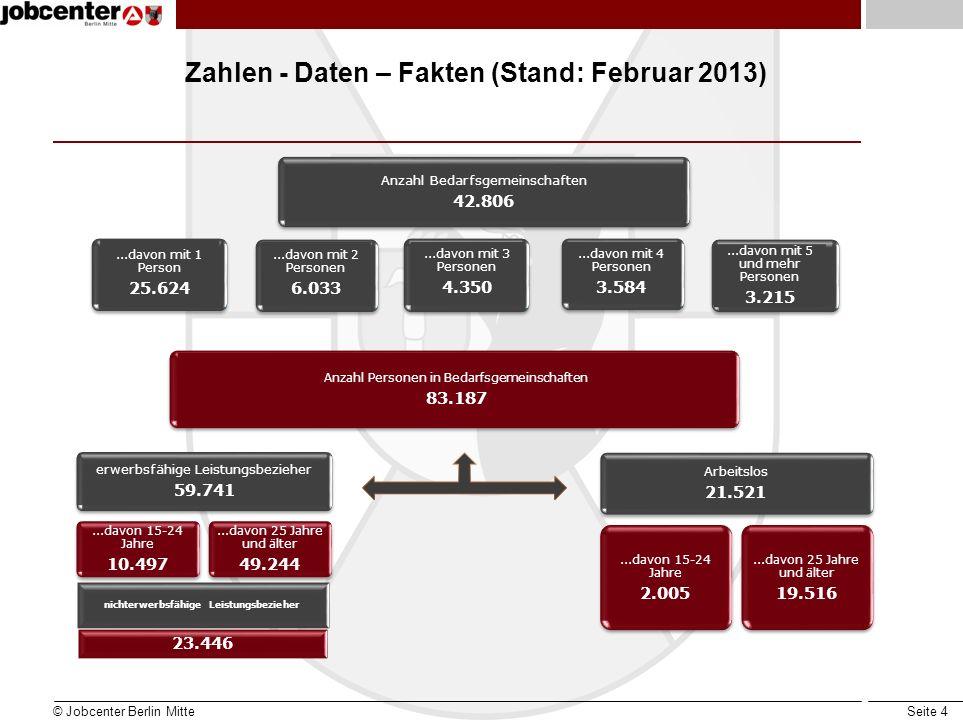 Seite 4 Zahlen - Daten – Fakten (Stand: Februar 2013) © Jobcenter Berlin Mitte nichterwerbsfähige Leistungsbezieher 23.446 Anzahl Bedarfsgemeinschafte