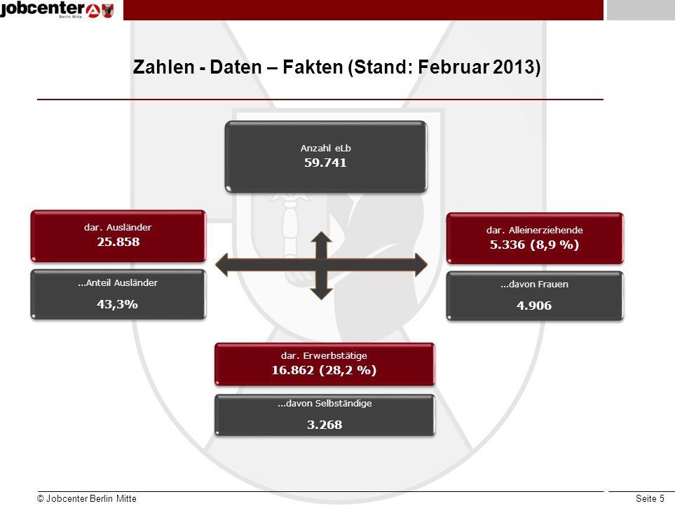 Seite 5 Zahlen - Daten – Fakten (Stand: Februar 2013) © Jobcenter Berlin Mitte dar. Erwerbstätige 16.862 (28,2 %)...davon Selbständige 3.268 Anzahl eL