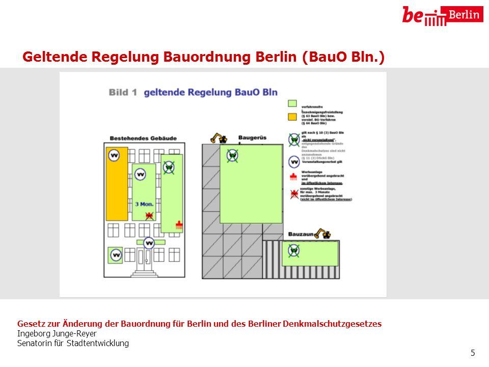 Gesetz zur Änderung der Bauordnung für Berlin und des Berliner Denkmalschutzgesetzes Ingeborg Junge-Reyer Senatorin für Stadtentwicklung 5 Geltende Regelung Bauordnung Berlin (BauO Bln.)