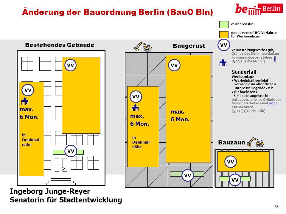 Ingeborg Junge-Reyer Senatorin für Stadtentwicklung 6 Bestehendes Gebäude Baugerüst Bauzaun verfahrensfrei neues vereinf. BG-Verfahren für Werbeanlage